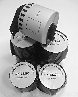 Continuous DK 2205 Feed Labels Thermal Roll BROTHER Compatible w/ Free Cartridge