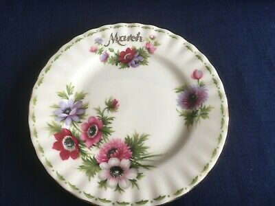 "Royal Albert Flowers Of The Month March  6 1/4""  tea plate (v minor gilt wear )"