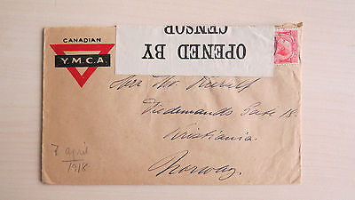 Cover Canada Canadian YMCA Opened By Censor 1035 to Norway 1918