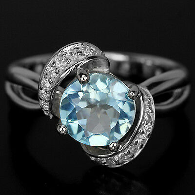Genuine 8 Mm. Aaa Sky Blue Topaz & White Cz Sterling 925 Silver Ring Size 6.75