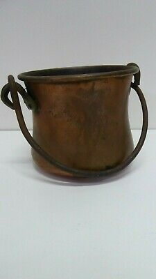 Vintage Middle Eastern Persian Turkish Copper Bucket Cooking Pot Brass Fittings