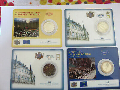 4 Coincard 2 Euro Luxembourg Annees  2006 - 2007 - 2009 - 2009