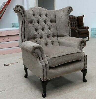 Georgian Chesterfield Queen Anne Buttoned High Back Wing Chair Mink Fabric