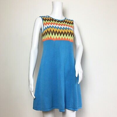 VINTAGE 1960s BABY BLUE ORANGE CROCHET KNITTED MOD GOGO MINI SHIFT DRESS UK 6 8