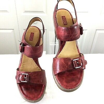 bde387b9728b ECCO WOMENS Sandals Wedge Natural Red Leather Buckle Ankle Strap Size 8.5  EUR 39