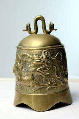Antique Chinese Brass Bell with Dragon