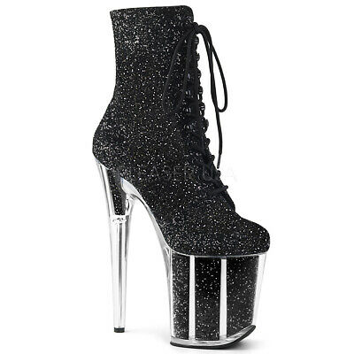 a02199cf5b2b Pleaser FLAMINGO-1020G Womens Black Glitter Lace up Platform Ankle Mid-Calf  Boot