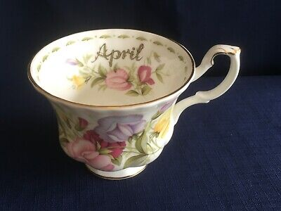 Royal Albert Flowers Of The Month April Sweetpea tea cup  -second &v .minor wear