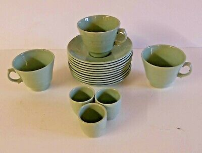 """Collectable """"Woods Ware"""" """"Beryl"""" 3 x Tea Cups 3 x Egg Cups and 11 x Tea Saucers"""