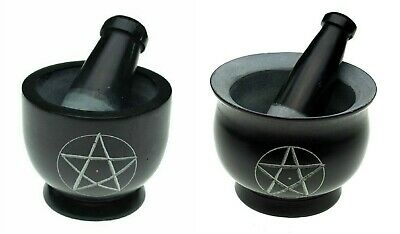 Black Soapstone Pestle And Mortar Pentagram Pagan Witches  herbs 6x8 or 8x10cm