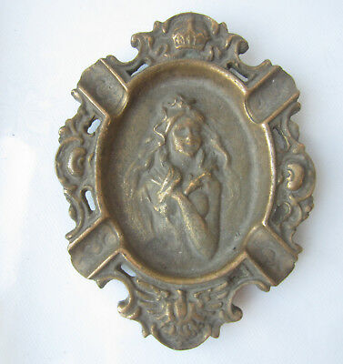 Art Deco antique bronze / brass heavy ashtray  embossed girl crown eagle / bird