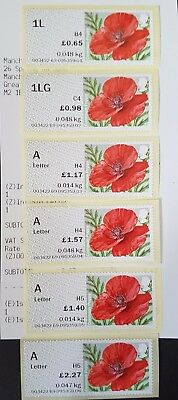 'New'  R17Yal - Ncr Poppy Open Value Collector Set Of 6