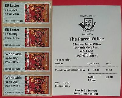 Post & Go - Gi03 - Gibraltar 'Parcel Office' - Monkey Stamps - Not First Day Iss