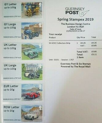 Spring Stampex 2019 - Gg01 - 'Guernsey Old Car Club' Collector/Local Strips