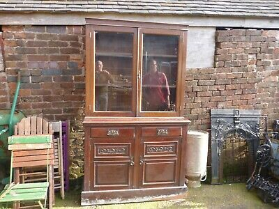Antique Victorian Mahogany Cupboard Bookcase Housekeepers Cupboard