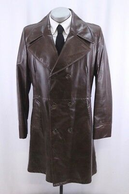 vintage 70s mens brown LAKELAND leather coat overcoat double breasted retro 42 L