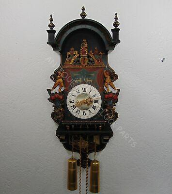 Folklore Dutch Hindeloopen Bakkers Wall Clock With Salomons Judgement Painting