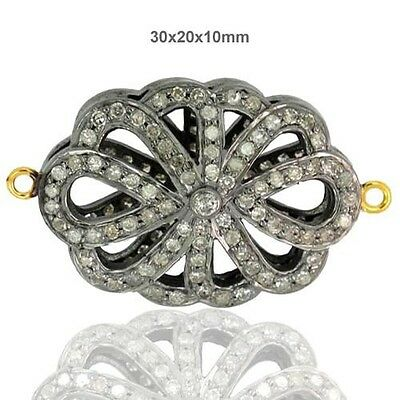 New 14k Gold 925 Sterling Silver Diamond Pave Bracelet Connector Finding Jewelry