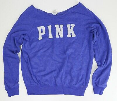 PINK Victorias Secret Pullover Lightweight Cutout Sweatshirt Blue XS Glitter VS