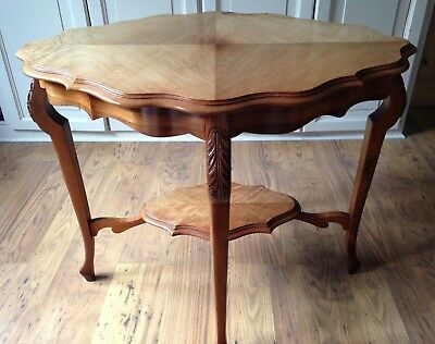 Antique English Burr Walnut Two Tier Side Table, Lamp, Display Victorian c.1900