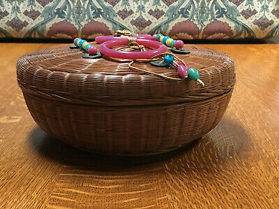 Lrg Round Vintage Chinese Woven Lacquered Sewing Basket with Glass Beads & Coins