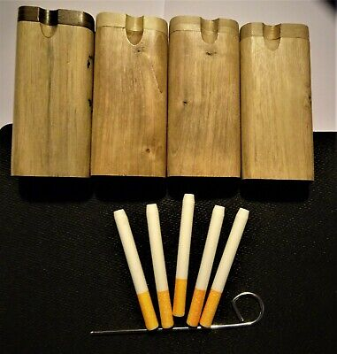 "5 X Ceramic 3"" Bat One Hitter Cigarette Style Pipe LARGE Dugout 4"" With DUGOUT"