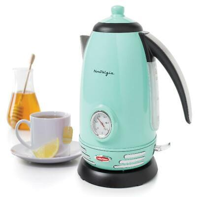 Nostalgia Retro 1.7-Liter Stainless Steel Electric Water Kettle,1500 W Aqua Blue