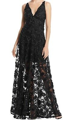 d6f0895c Avery G NEW Black Womens Size 12 Floral Embellished Illusion Gown Dress  $288 299