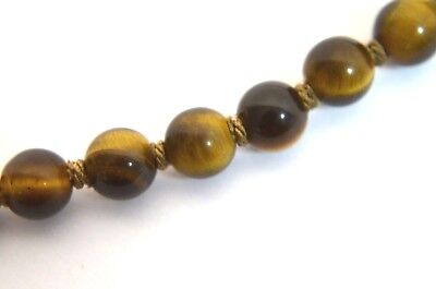 Vintage Chinese Tiger Eye Quartz Beads Necklace Silver Filigree Clasp