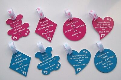 Personalised Engraved Laminate Gift Tags, Christenings, Birthdays, Baby Shower