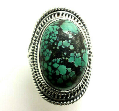 Mens Design Oval Turquoise Sterling Silver 925 Ring 18g Sz.10 HAN283