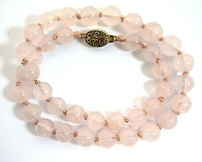 Vintage Chinese Rose Quartz Beads Necklace Silver Filigree Clasp