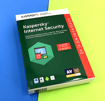 NEW! Kaspersky Internet Security Antivirus For 3 Devices - 1 year License #6617