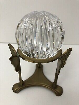 GREAT CITY TRADERS of San Francisco Vintage Crystal Grooved Ball and Brass Stand