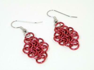 Tangled Metal Chainmail Jewelry Chainmail Earrings w/Red Anodized Aluminu MINT