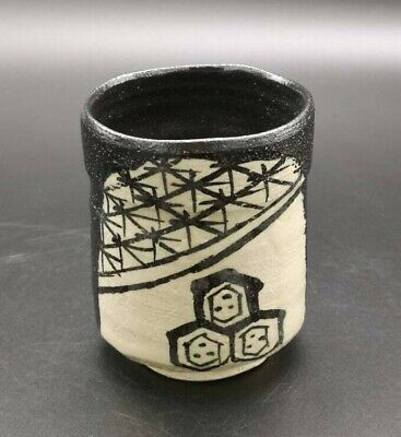 Japanese Oribe Ware Tea Cup Pottery Yunomi Black Artist Signed