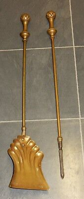 Vintage Pair of Brass Fire Irons Tools