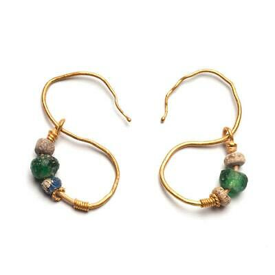 A pair of Egyptian Gold Earrings, Roman Period, ca. 1st Century BC- 2nd Century