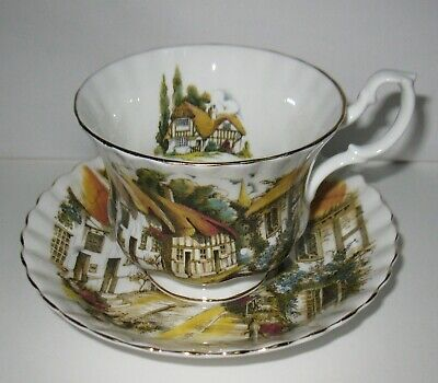 Vintage Royal Albert Cup & Saucer With Outside Scene  FREE SHIPPING
