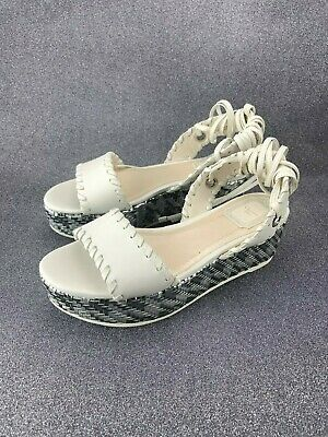 69eed1b41122 CHRISTIAN DIOR DIOR Folk White Leather Sandals Size 7 -  200.00 ...