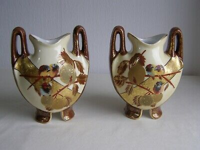 Pair of Antique Art Nouveau French Limoges Porcelain Hand Painted Vases - c.1900