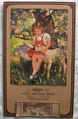 1949 Beery Coast to Coast Store,Girl Bottle Feeding Lamb,Toledo,Iowa IA Calendar