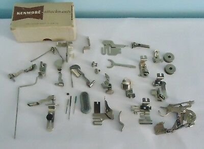 Vintage Sewing Machine Attachment Lot Most Marked Greist USA With Kenmore Box