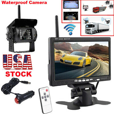 """Wireless Rear View Backup Night Vision Camera w/ 7"""" Monitor Kit for RV Truck Bus"""