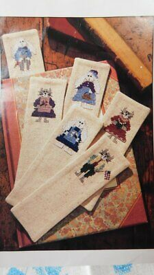 Stamped Osnaburg Fabric~6 BOOKMARKS~for Cross Stitch/Embroidery Cat/Bunny