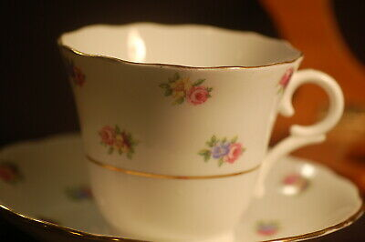 Colclough Banded Floral  Cup and Saucer