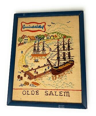 Olde Salem Crowninshield Wharf Crewel Needlework Wall Hanging Framed 11x14 a
