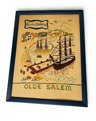 Olde Salem Crowninshield Wharf Crewel Needlework Wall Hanging Framed 11x14 b