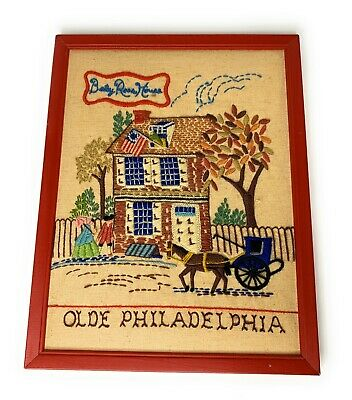 Olde Philadelphia Betsy Ross House Crewel Needlework Wall Hanging Framed 11x14