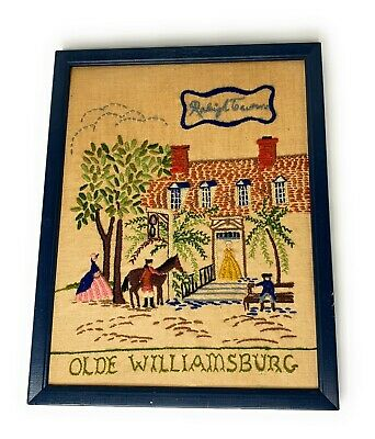 Olde Williamsburg Raleigh Tavern Crewel Needlework Wall Hanging Framed 11x14